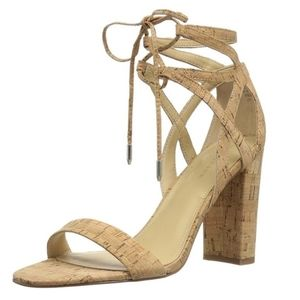 Marc Fisher cork upper lace up heels